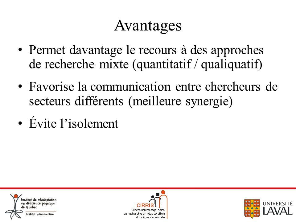 Avantages Permet davantage le recours à des approches de recherche mixte (quantitatif / qualiquatif)