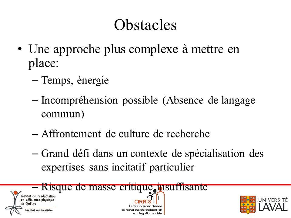 Obstacles Une approche plus complexe à mettre en place: Temps, énergie