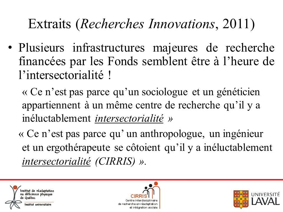Extraits (Recherches Innovations, 2011)