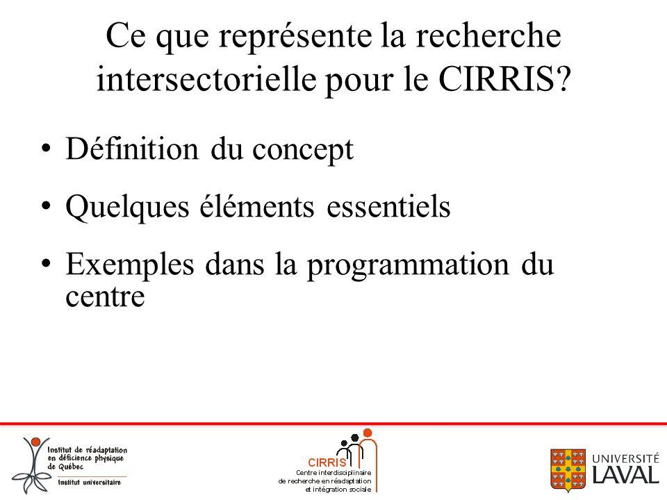 Ce que représente la recherche intersectorielle pour le CIRRIS