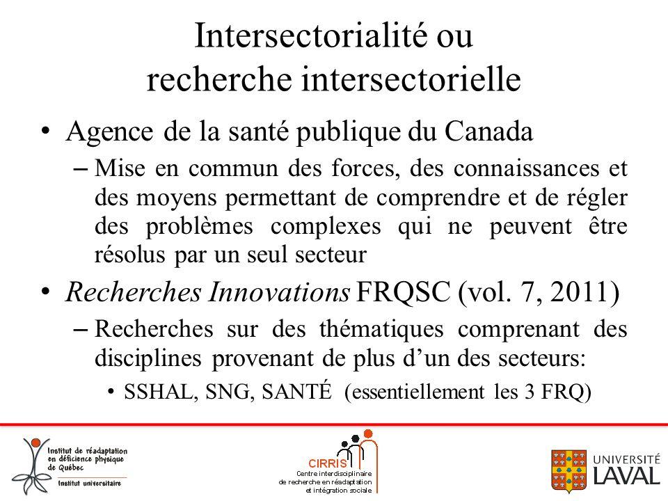 Intersectorialité ou recherche intersectorielle