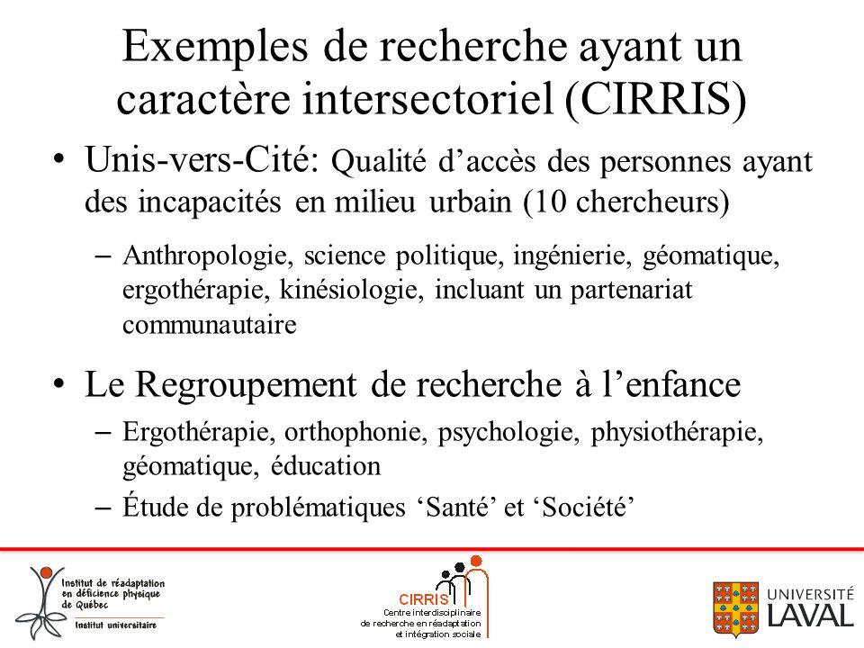 Exemples de recherche ayant un caractère intersectoriel (CIRRIS)