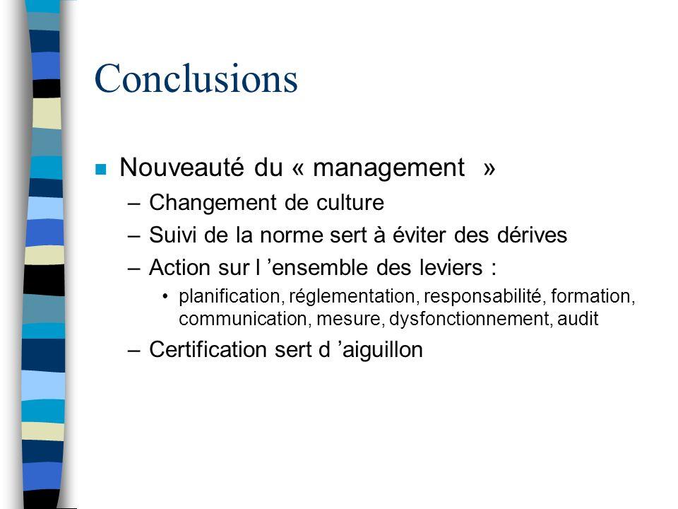 Conclusions Nouveauté du « management » Changement de culture