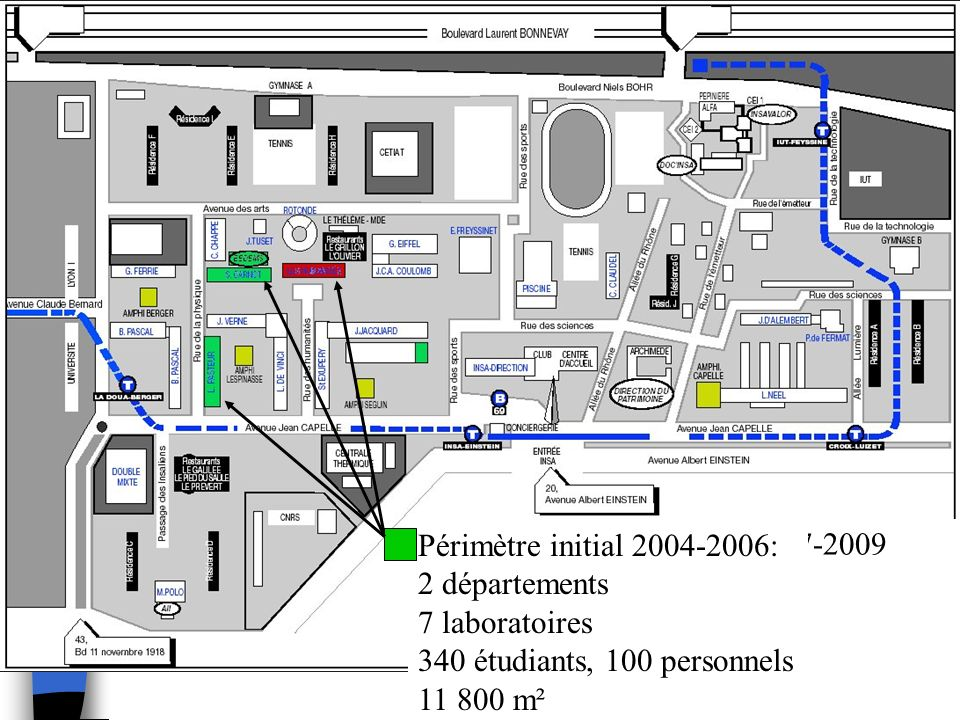 Périmètre initial 2004-2006:2 départements. 7 laboratoires. 340 étudiants, 100 personnels. 11 800 m².