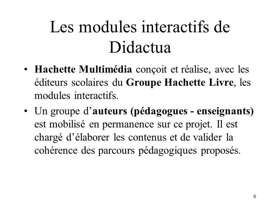 Les modules interactifs de Didactua