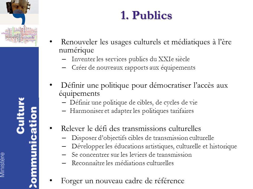 1. Publics Renouveler les usages culturels et médiatiques à l'ère numérique. Inventer les services publics du XXIe siècle.