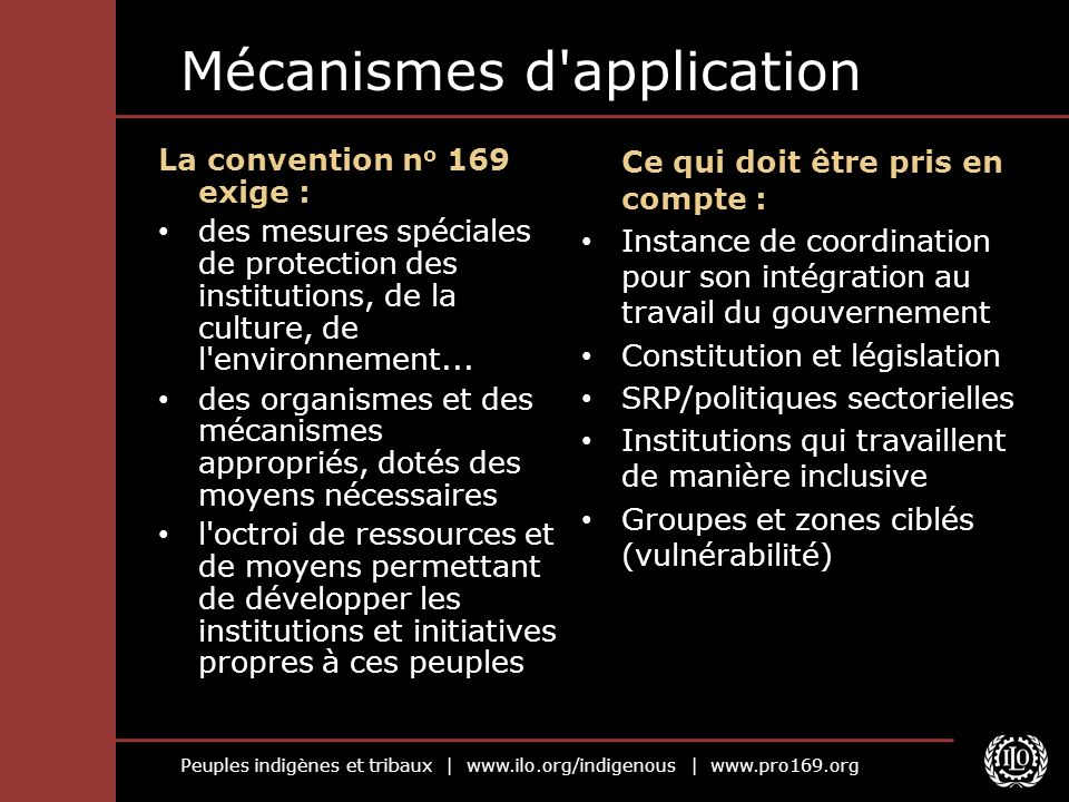 Mécanismes d application