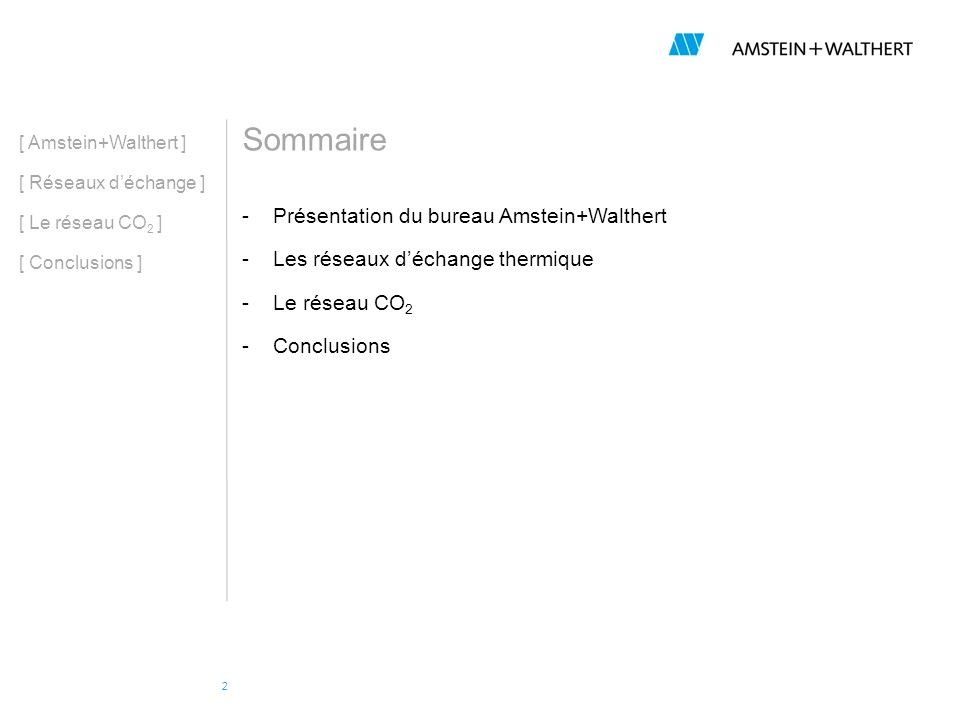 Sommaire Présentation du bureau Amstein+Walthert