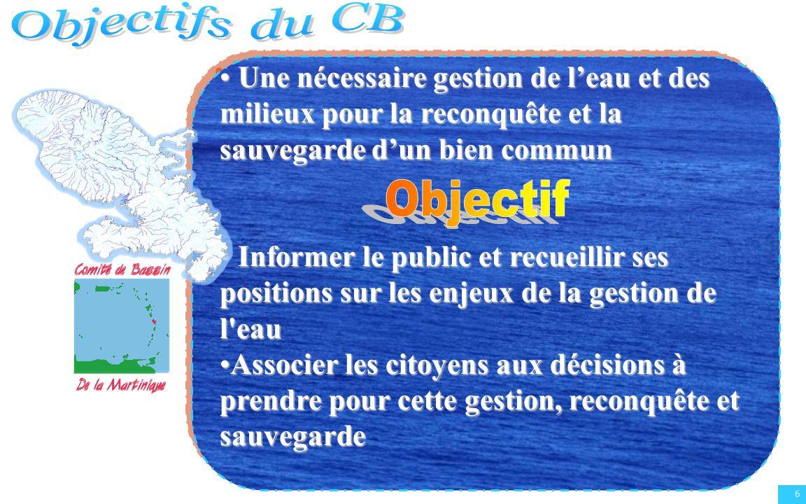 Objectifs du CB Une nécessaire gestion de l'eau et des milieux pour la reconquête et la sauvegarde d'un bien commun.