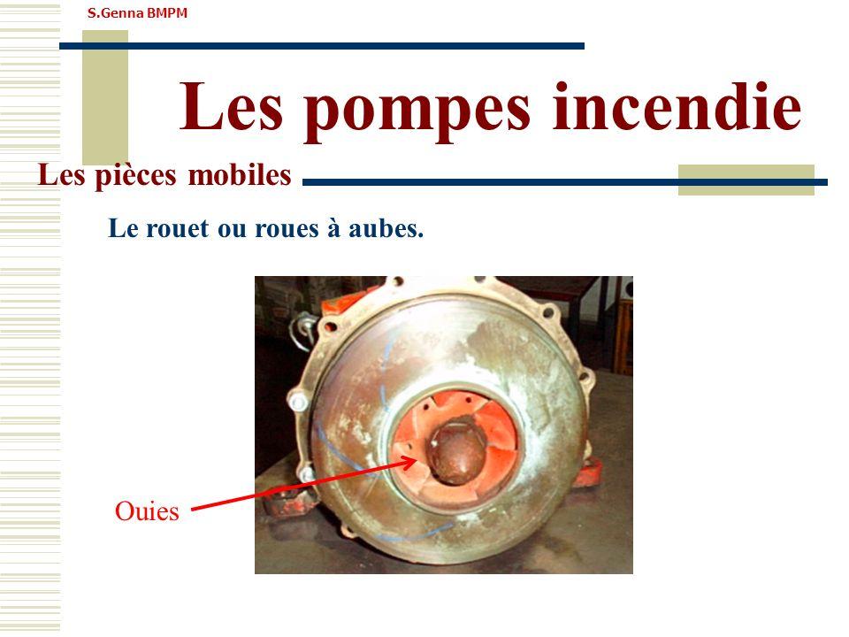 Les pompes incendie Les pièces mobiles Le rouet ou roues à aubes.