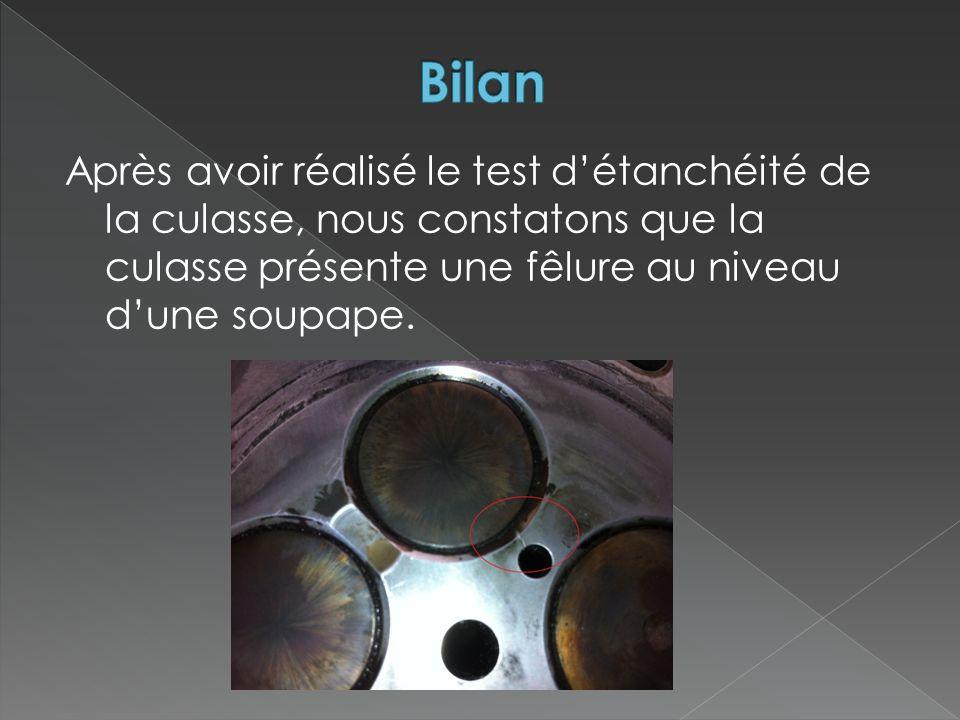 Bilan Après avoir réalisé le test d'étanchéité de la culasse, nous constatons que la culasse présente une fêlure au niveau d'une soupape.