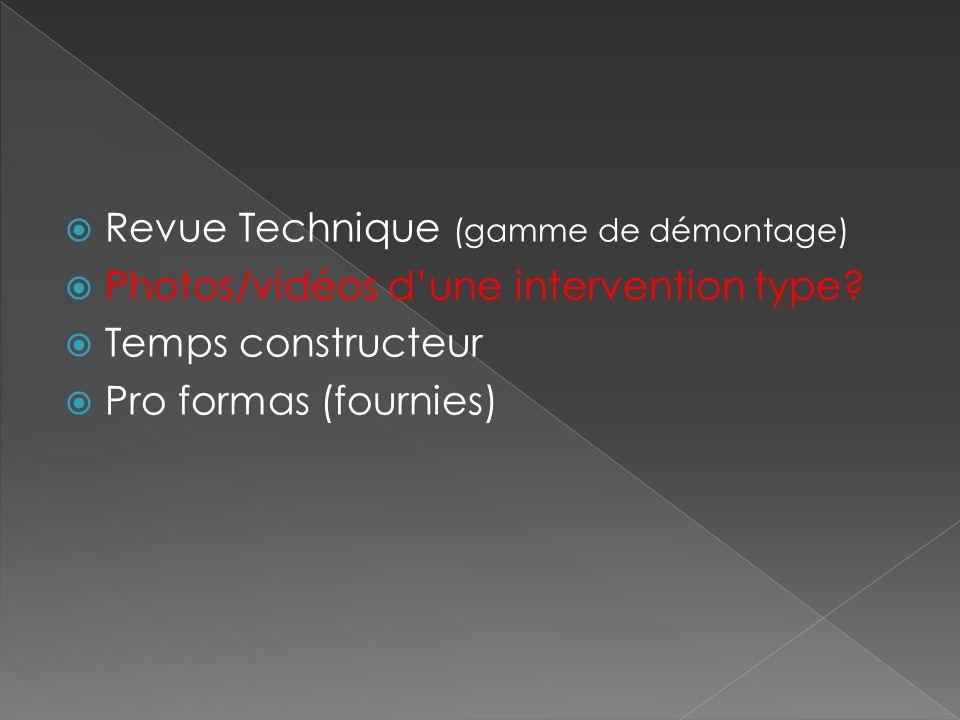 Revue Technique (gamme de démontage)