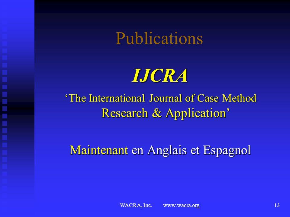 IJCRA Publications Maintenant en Anglais et Espagnol