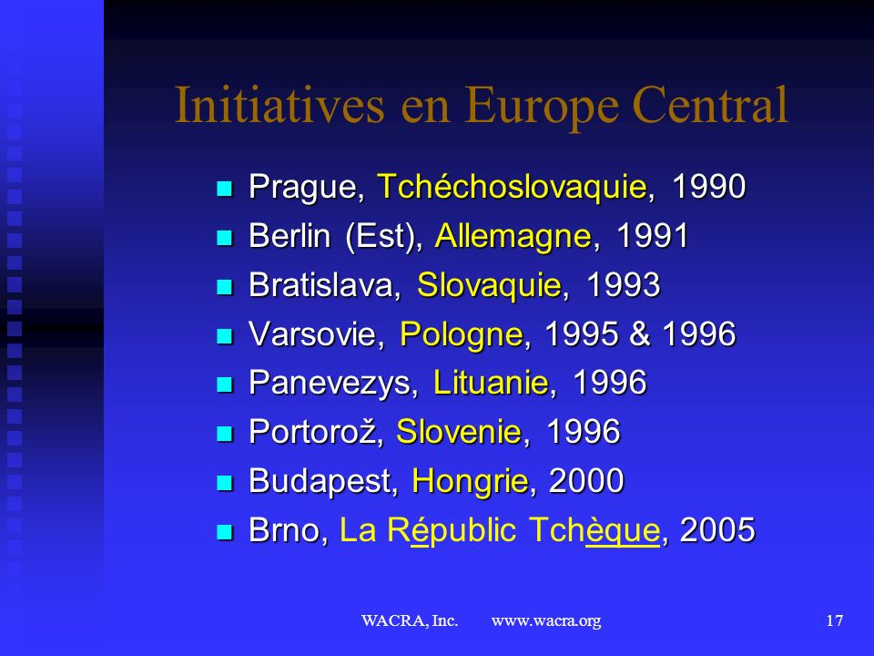 Initiatives en Europe Central
