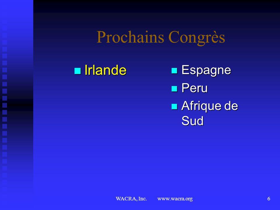 Prochains Congrès Irlande Espagne Peru Afrique de Sud