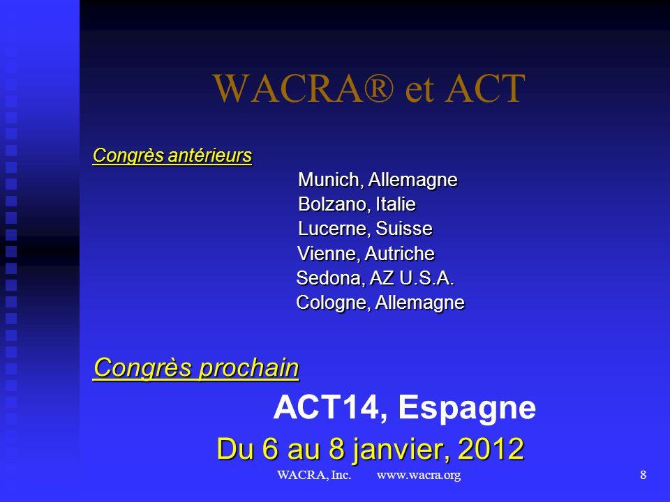 WACRA® et ACT ACT14, Espagne Du 6 au 8 janvier, 2012 Congrès prochain