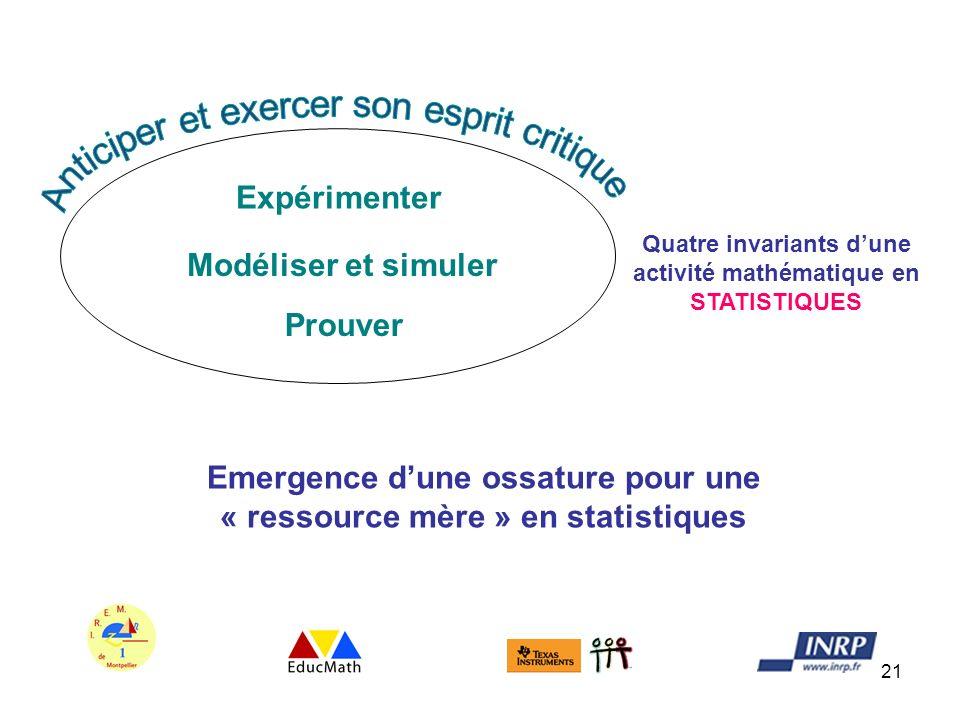 Emergence d'une ossature pour une « ressource mère » en statistiques