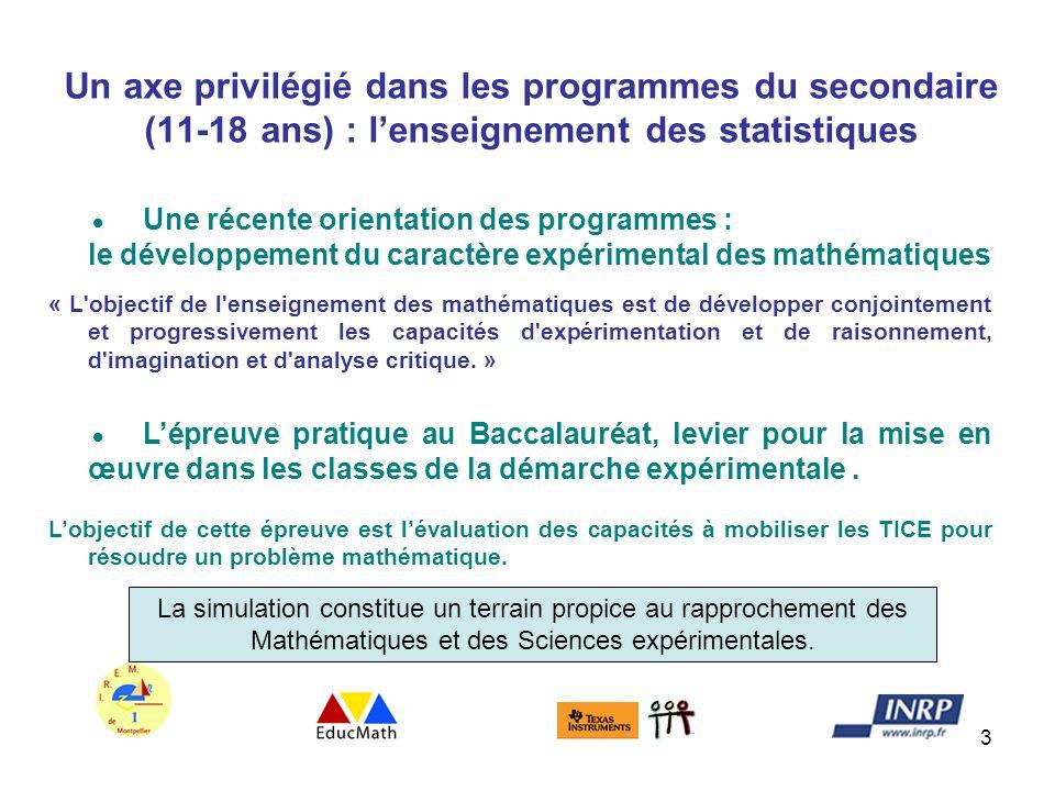 Un axe privilégié dans les programmes du secondaire (11-18 ans) : l'enseignement des statistiques
