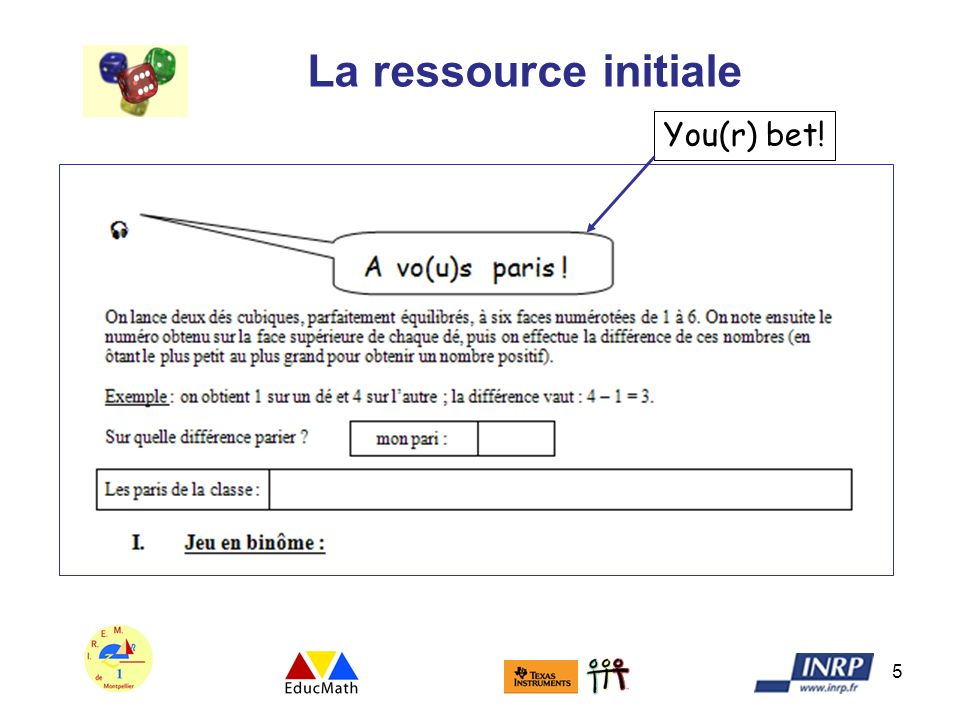 La ressource initiale You(r) bet!