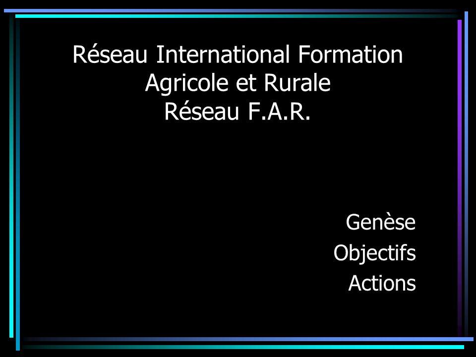 Réseau International Formation Agricole et Rurale Réseau F.A.R.