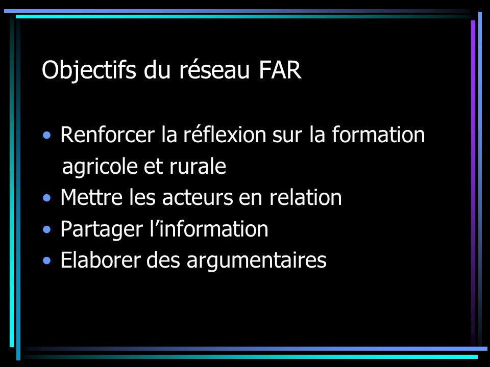 Objectifs du réseau FAR