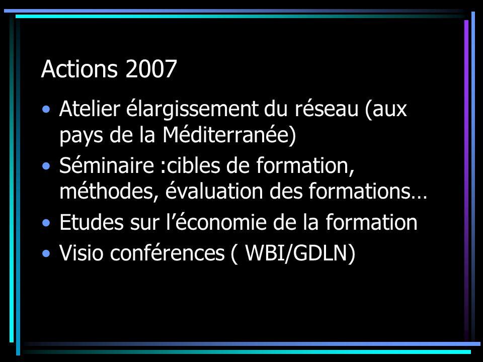 Actions 2007 Atelier élargissement du réseau (aux pays de la Méditerranée) Séminaire :cibles de formation, méthodes, évaluation des formations…
