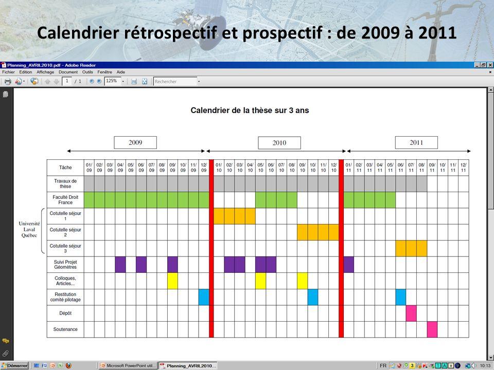 Calendrier rétrospectif et prospectif : de 2009 à 2011