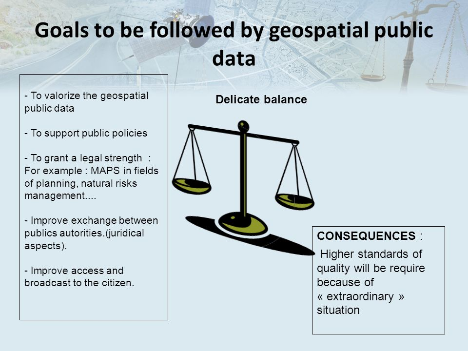 Goals to be followed by geospatial public data