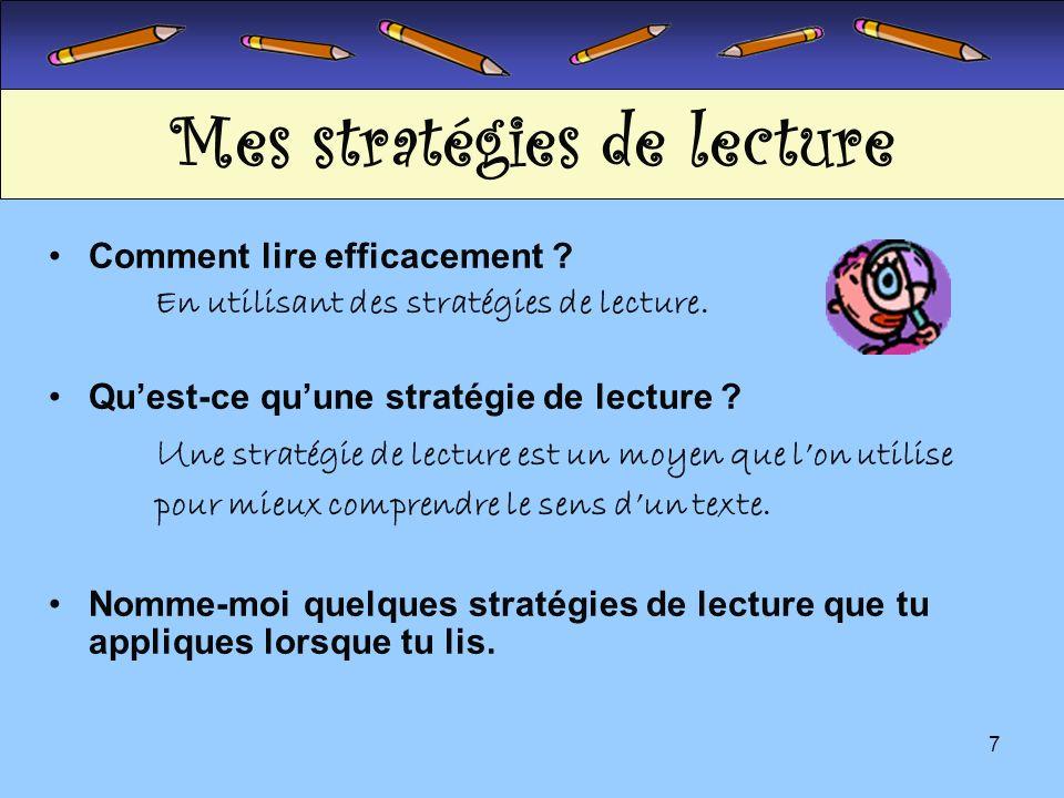 Mes stratégies de lecture
