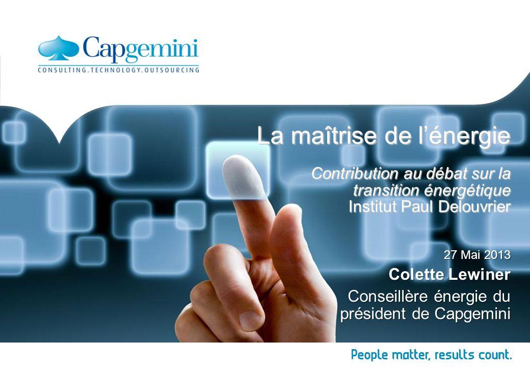 La maîtrise de l'énergie Contribution au débat sur la transition énergétique Institut Paul Delouvrier