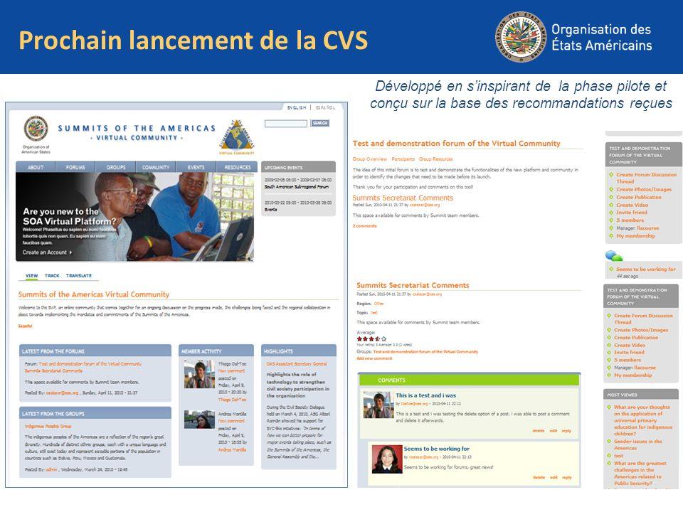 Prochain lancement de la CVS