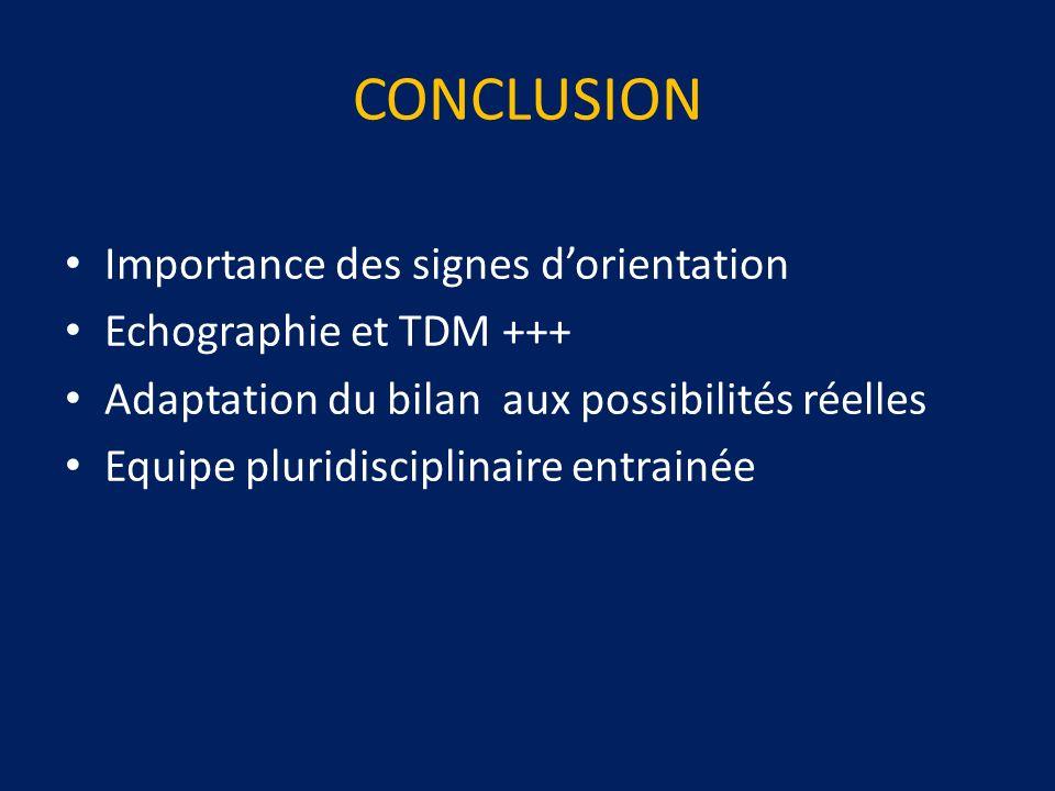 CONCLUSION Importance des signes d'orientation Echographie et TDM +++