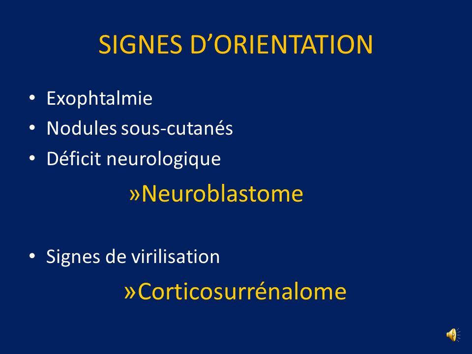 SIGNES D'ORIENTATION Corticosurrénalome Exophtalmie