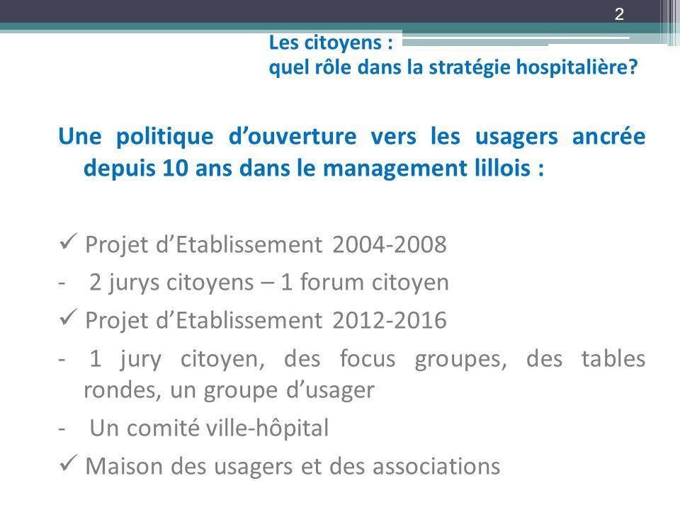  Projet d'Etablissement 2004-2008 2 jurys citoyens – 1 forum citoyen