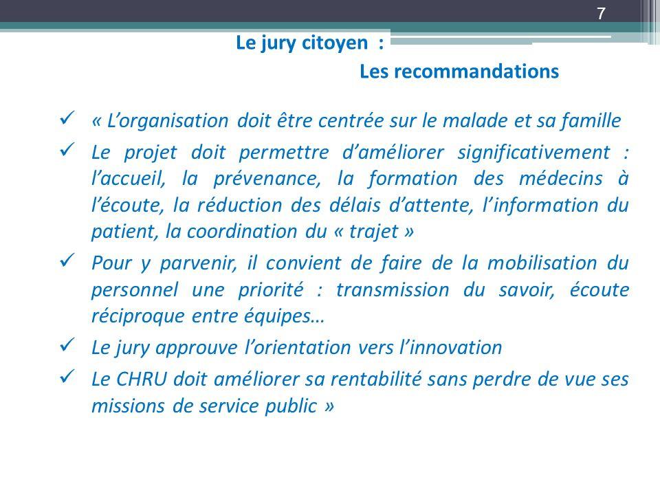 Le jury citoyen :Les recommandations. « L'organisation doit être centrée sur le malade et sa famille.