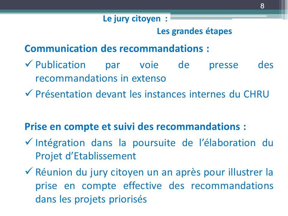 Communication des recommandations :