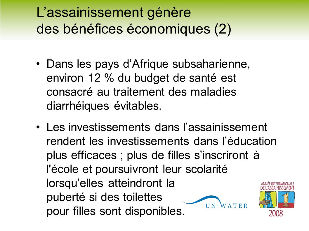 L'assainissement génère des bénéfices économiques (2)