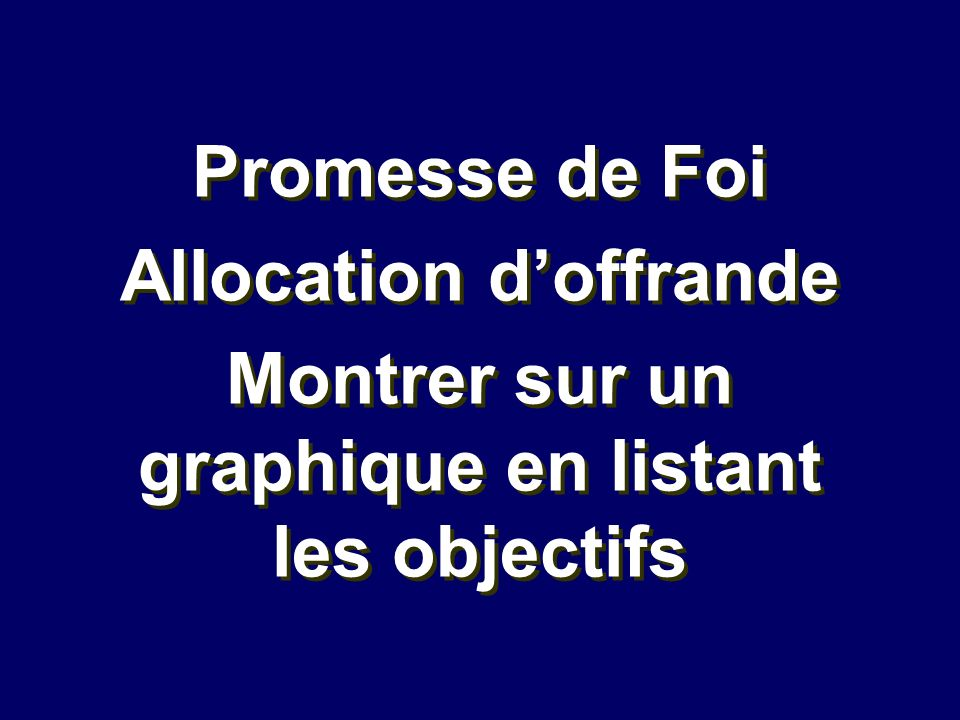 Allocation d'offrande