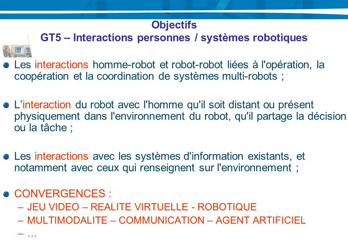 Objectifs GT5 – Interactions personnes / systèmes robotiques