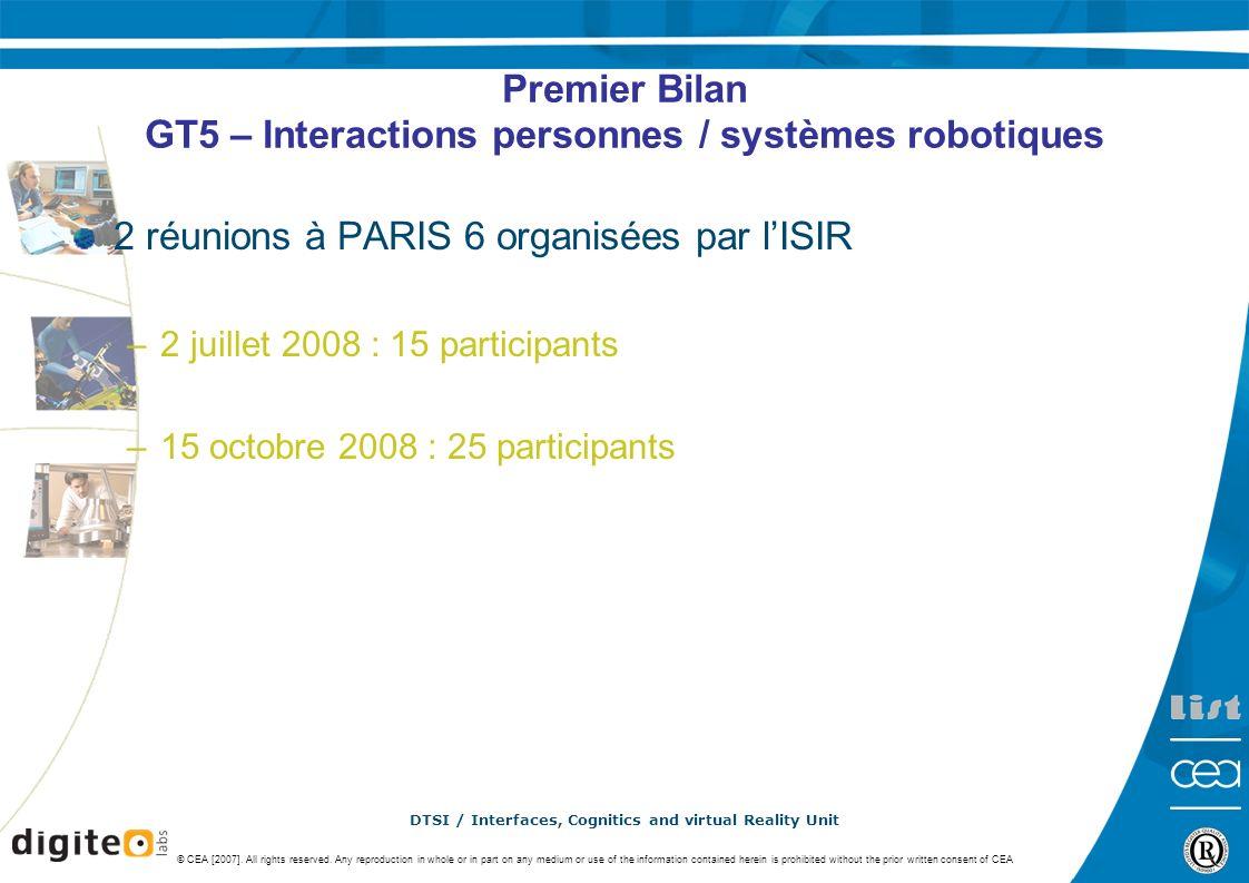 Premier Bilan GT5 – Interactions personnes / systèmes robotiques