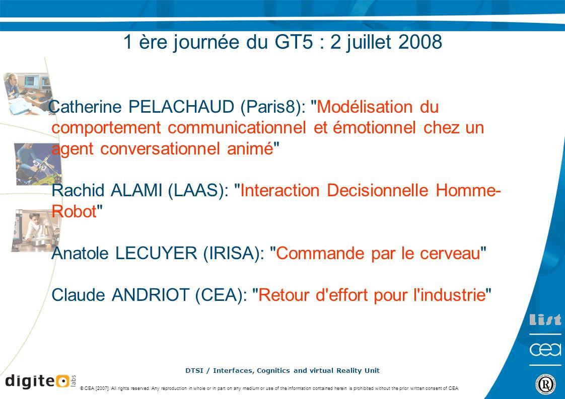 1 ère journée du GT5 : 2 juillet 2008