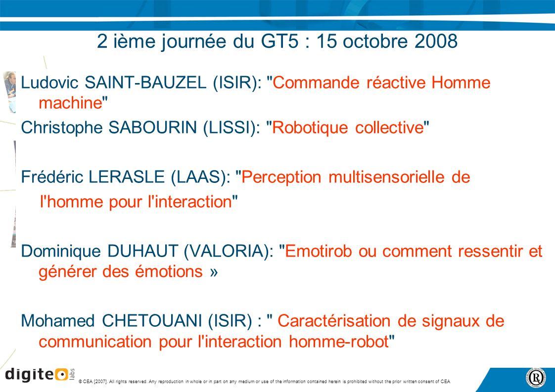 2 ième journée du GT5 : 15 octobre 2008