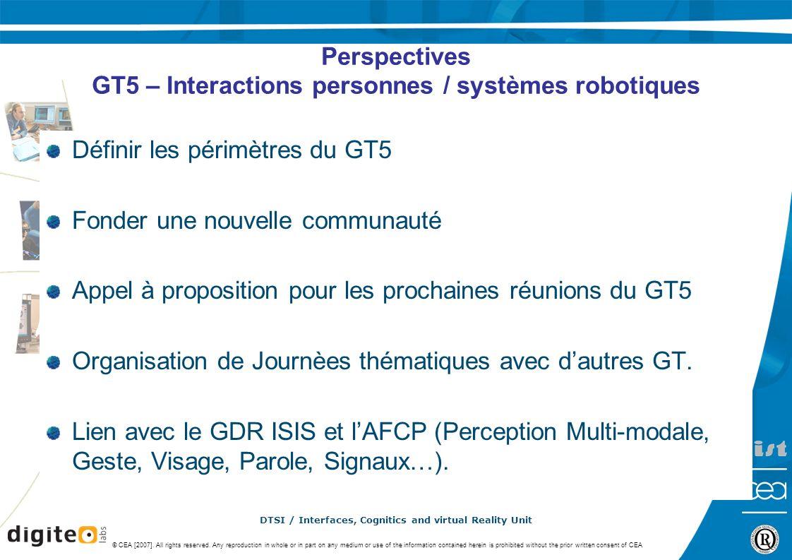 Perspectives GT5 – Interactions personnes / systèmes robotiques