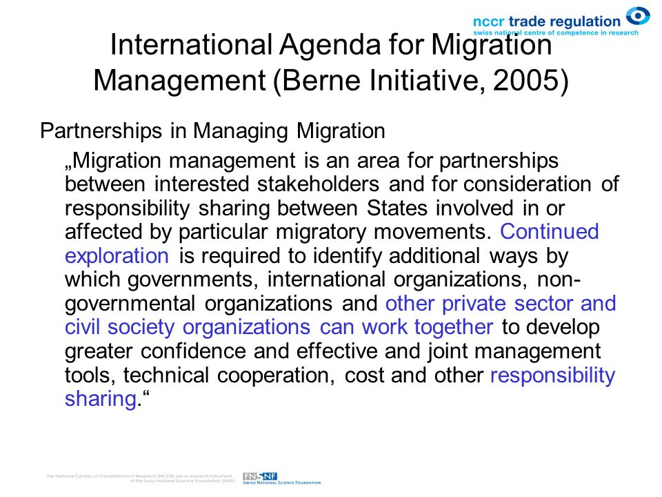 International Agenda for Migration Management (Berne Initiative, 2005)