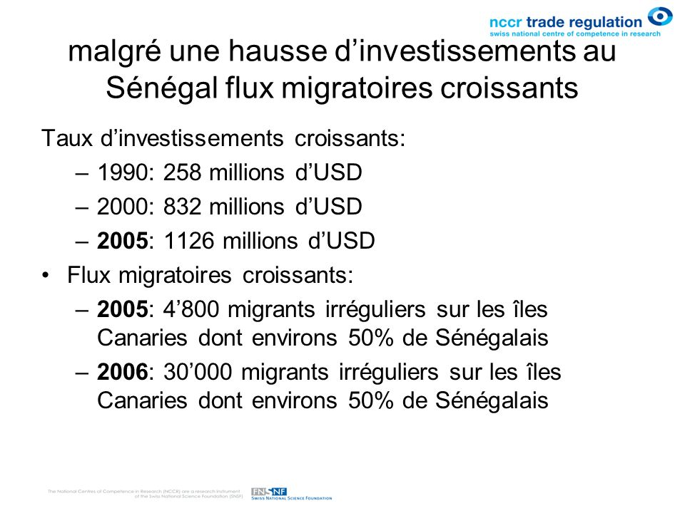 malgré une hausse d'investissements au Sénégal flux migratoires croissants
