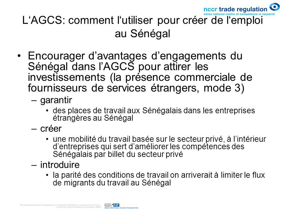 L'AGCS: comment l'utiliser pour créer de l'emploi au Sénégal