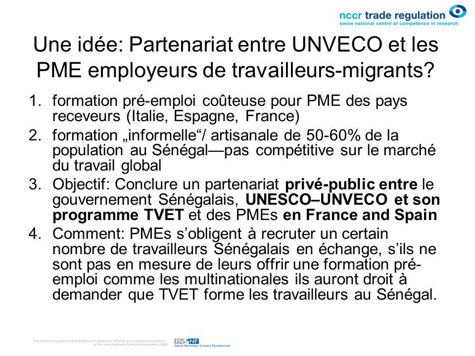Une idée: Partenariat entre UNVECO et les PME employeurs de travailleurs-migrants