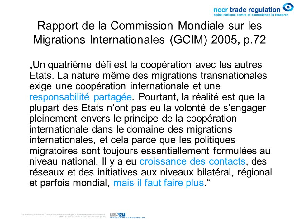 Rapport de la Commission Mondiale sur les Migrations Internationales (GCIM) 2005, p.72