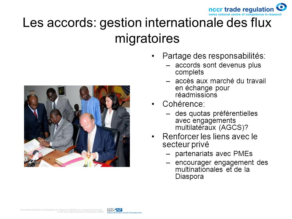 Les accords: gestion internationale des flux migratoires