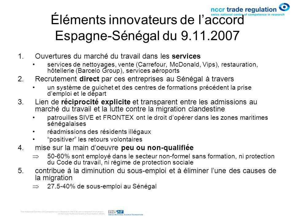 Éléments innovateurs de l'accord Espagne-Sénégal du 9.11.2007